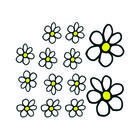 Mijnautoonderdelen Auto Tattoo Flowers White/Yellow 13 AV 103009